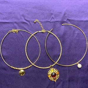 Jewelry - 3 Gold Tone Choker Necklaces